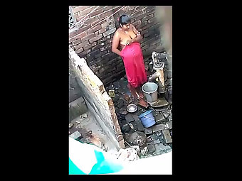 Unseen Next Door Indian Bhabhi Taking Open Air Shower